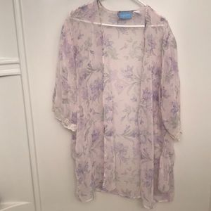See through flower pink cover up large